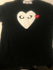 Comme Des Garcons CDG PLAY T-Shirt Size M Black With Red Heart Eyes Authentic