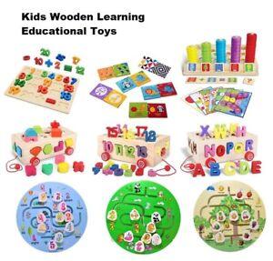 Many Wooden Puzzle Baby Kids Pull Car Maze Shape Alphabet Animal Learning Toys