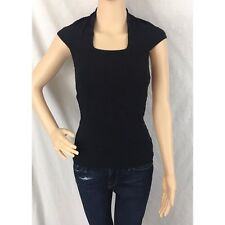 SCALA Cap-sleeve Black Stretch Top Tank Cami. One Size. Fits Small-Med