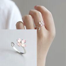 Sakura Flower Ring Adjustable Sizable Cherry Blossom Cupronickel Silver Plating