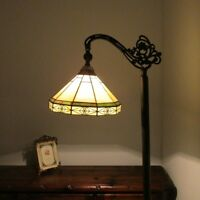 """Tiffany Style 1 Bulb Mission Stained Glass Floor Lamp 11"""" Shade Lt Green & Beige"""