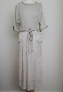 BELLINO Vintage Ivory Metallic Maxi Crochet Dress Sz 10
