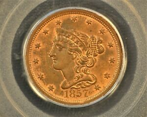 1857 Braided Hair Half Cent. C-1, the only known dies. Rarity-2 MS63 RB PCGS OGH