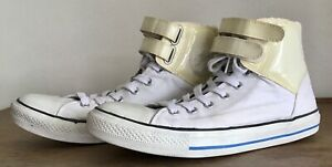 white leather mens converse high tops size 10
