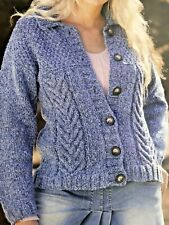 "WOMENS LADIES   CABLE KNIT CARDIGAN  Knitting Pattern CHUNKY  32 - 42 "" - No 31A"