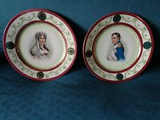Antique pair porcelain plates of Napoleon & Josephine