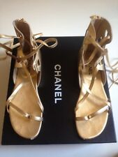 CHANEL G27681 Gladiator Gold Sandals Size 40 US 9