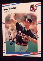BOB BOONE 1988 FLEER Autographed Signed AUTO Baseball Card ANGELS 485