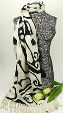 Black / white Abstract pattern Scarf /Shawl - Acrylic - 80559ablk