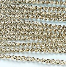 """Gold Curb Chain Jewelry Essentials Finding 72"""" 1.8 meters 3mm Links"""