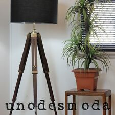 Hand Made TRiPOD LAMP DESiGNER TEAK SHADE vintage floor table light - RRP $599