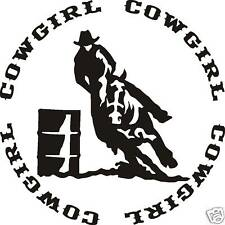 Cowgirl Barrel Racer Decal Sticker Saddle Rope Spurs
