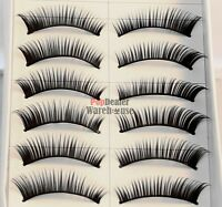 10 Pairs Handmade Natural Fake False Eyelashes Eye Lashes Jet Black Glue Sample