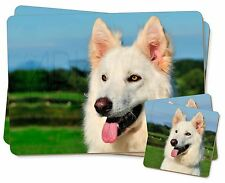 White German Shepherd Dog Twin 2x Placemats+2x Coasters Set in Gift , AD-WGSD2PC