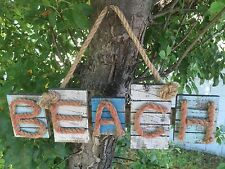 "Large 16"" Beach Wood Plaque with Rope Letters Nautical Beach House Decor"