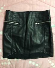 H&M DIVIDED minigonna simil pelle nera con cerniere EU 38  US 8 gonna corta