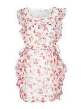 New Women Ladies Summer Chiffon Cherry Print Fruit Floaty Ruffle Mini Dress