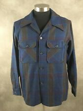 Vintage Woolrich Shirt Jacket Blue Plaid 100% Wool  Made in USA Men's Large