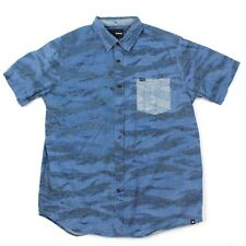 Hurley Surf Button Up Beach Casual Shirt Size Medium Blue Relaxed Frocket $58