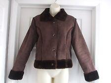 Z. Womens Fit Size 12 Brown Jacket FAUX FUR WINTER WORK Ladies Smart CASUAL