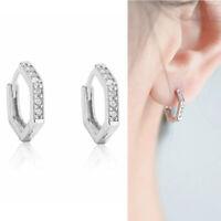 Solid 925 Sterling Silver Hexagon Half Eternity CZ Huggie Hoop Hinged Earrings