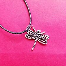 Handmade Dragonfly Silver Pendant Necklace Black Rope 50cm Metal Clasp Gift Her