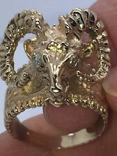 ESTATE MENS 14kt YELLOW GOLD RAM ARIES HEAD with DIAMOND EYES RING SIZE