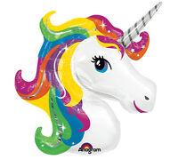 "33"" Bright RAINBOW Fantasy UNICORN Pegaus Birthday  Party Mylar Balloon"