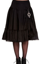 Hell Bunny Knee Length Cotton Patternless Skirts for Women