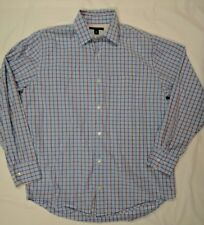 Banana Republic Mens Shirt Medium M Long Sleeve Blue Orange Check Button Down
