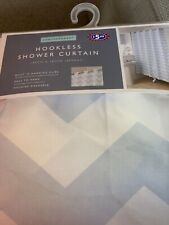 hookless shower curtain White/light Blue