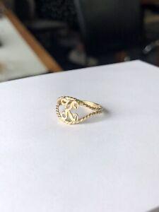 10K Yellow Gold K Initial Ring