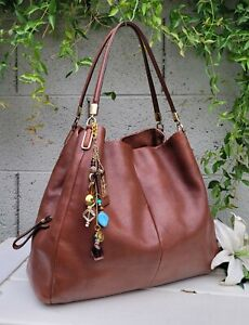COACH 24621 madison LRG phoebe CHESTNUT Leather shoulder Bag hobo purse handbag
