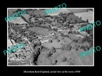 OLD 6 X 4 HISTORIC PHOTO OF SHOREHAM KENT ENGLAND AERIAL VIEW OF TOWN c1950 3