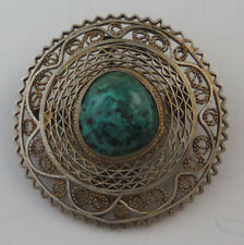 Round Ornate Israeli Sterling Silver & Eilat Intricate Vintage Brooch Pin