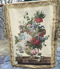 """WALL TAPESTRY WOOL FLORAL DESIGN 44"""" x 58"""" -  CARVED WOOD FINALS & TASSELS"""