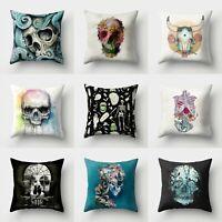 Pillow Polyester Skull Cushion 18'' Cover Throw Sofa Home Case Decor Waist