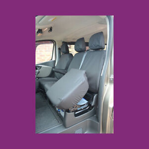 Renault Trafic 2014+ Tailored Waterproof Front (W/Storage) Black Seat Covers