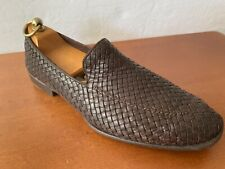 Pre Owned Salvatore Ferragamo Brown Woven Leather Slip On Loafers 9.5EE