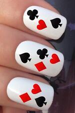 Acqua per unghie PLAYING CARD Hearts Club DIAMOND SPADE trasferimenti Decalcomania Adesivi * 689