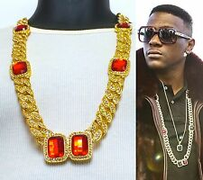"""MENS HIP HOP RAPPERS 15mm 33"""" MIAMI ICED OUT CUBAN LINK CHAIN RED RUBY NECKLACE"""