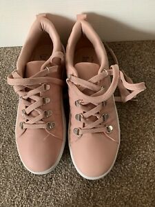 LADIES PINK LACE UP PUMPS TRAINERS SHOES UK SIZE 5 GREAT CONDITION
