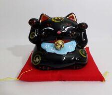 Maneki Neko Lucky Cat Both Hand Raise Coin Bank Money Pot Figure Black