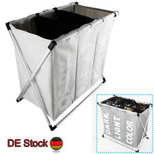 Wäschesammler 3 Fächer Wäschekorb Wäschesortierer Wäschebox Waschkorb Wäschesack