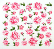 Nail Art Wraps Decals Water Transfer Red Tea Roses Buds Salon Quality #1017