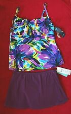 Longitude Tankini Top with Sunsets Skirted Bottoms size 14/XL