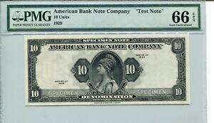 1929 American Bank Note Company Rare Specimen 66 PPQ SUPERB GEM - FLANKING 10'S