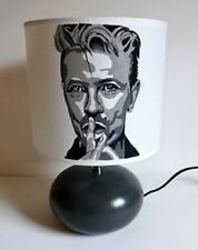 lampe de chevet  creacat  peint main thème musique star David Bowie blanc/gris