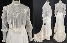 New listing Edwardian Pintuck Muslin Ruffled High Neck Blouse Train Skirt Wedding Dress Vtg