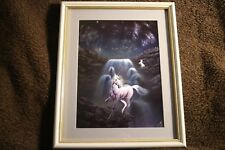 Unicorn lady Holographic Foil Dufex print White Gold glass wooden framed